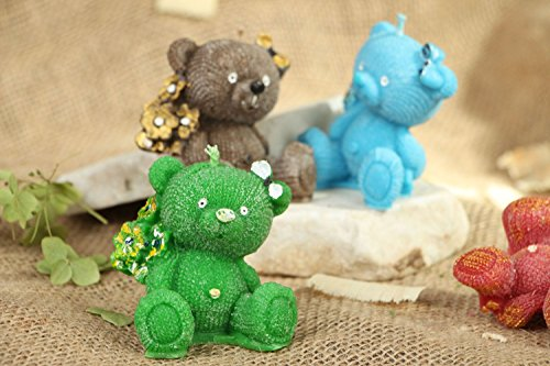 Paraffin Handmade Candle ''Bear with Bouquet'' Interior Design Ideas by MadeHeart | Buy handmade goods