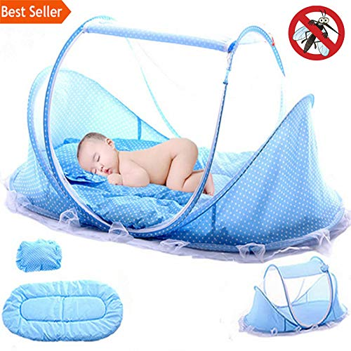 Baby Bedding Crib Netting Folding | Baby Mosquito Nets Bed Mattress Pillow Three-Piece Suit for 0-3 Years Old Children (Pink ()
