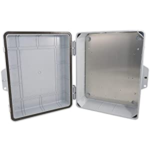 "Altelix Polycarbonate + ABS NEMA Enclosure 14x11x5 (12"" x 8"" x 4"" Inside Space) Weatherproof Tamper Resistant NEMA Box with Aluminum Equipment Mounting Plate"