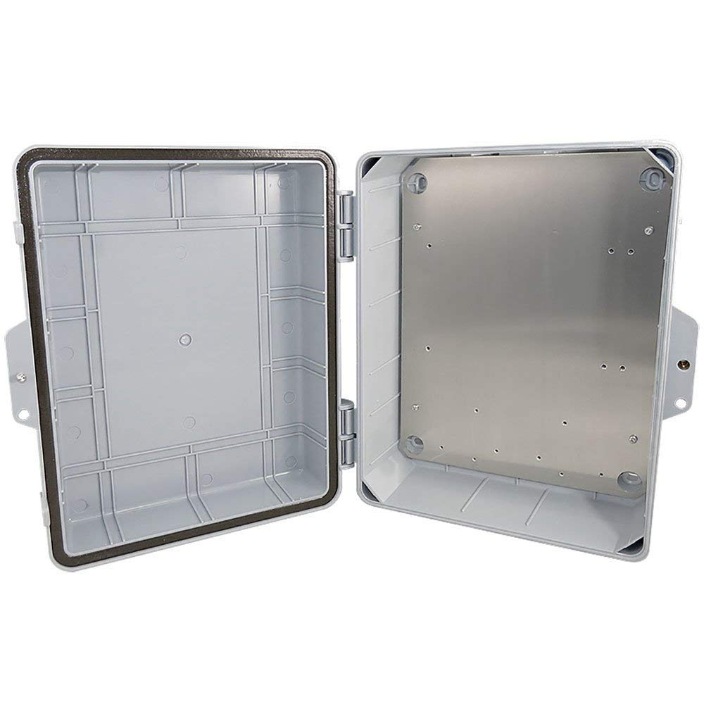 Altelix Polycarbonate + ABS NEMA Enclosure 14x11x5 (12'' x 8'' x 4'' Inside Space) Weatherproof Tamper Resistant NEMA Box with Aluminum Equipment Mounting Plate