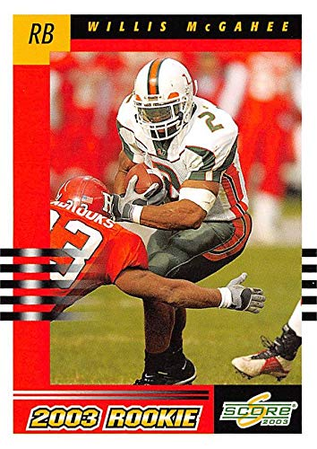 Willis Mcgahee Football Card Miami Hurricanes 2003 Score Rookie