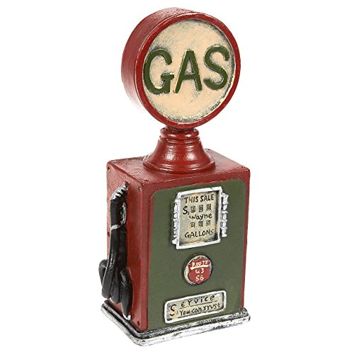 Juvale Piggy Bank Money Box Gas Pump Style - Polyresin Vintage Old Classic DecorMoney Bank Storage Pot, Green and Red