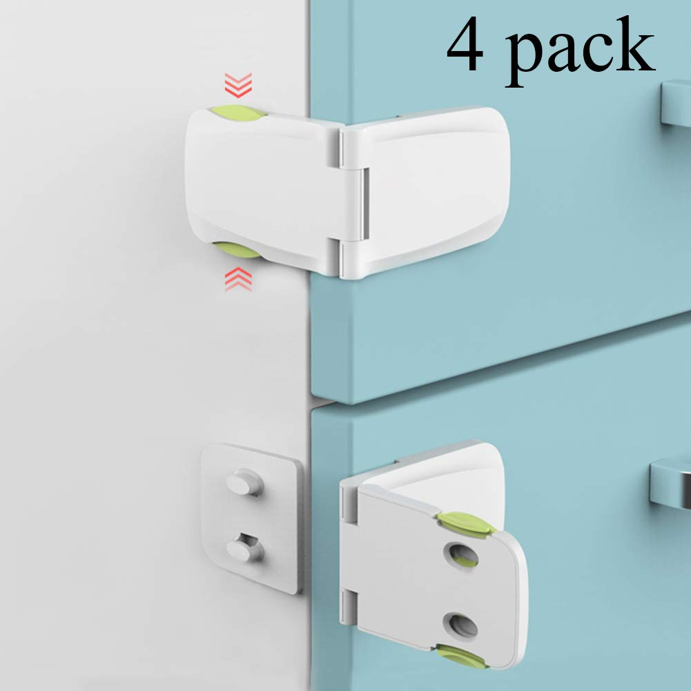 [4 Pack] Cabinet Locks Child Safety, Baby Proofing Cabinet Latch for Kitchen Storage Doors, Drawers, Cupboard, Oven, Refrigerator by QJQBMAI (White)