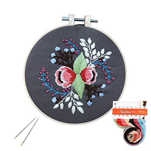 Embroidery Kit, Cross Stitch Kit Including Embroidery Cloth with Floral Pattern, Bamboo Hoop, Color Threads, Diagram and Starter Tools Kit