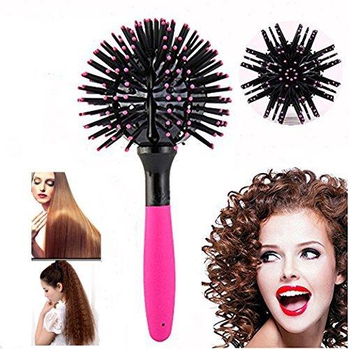 3D Hair Brush Ball, Ixaer 360°3D Bomb Styling Hair Brush Hair Bomb Black Bomb Curl Brush Styling Salon Round Hair Curling Comb Tool Drying Detangling Hair Care ()