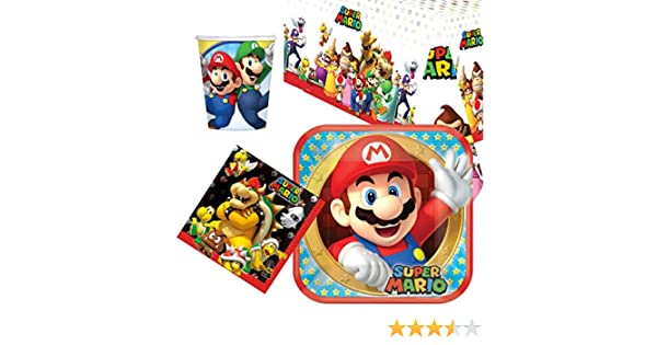 Party Bags 2 Go Super Mario Pack Vajilla para 8: Amazon.es: Juguetes y juegos