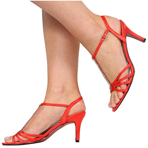 CORE COLLECTION New Womens Ladies Ankle Strap Wedding Bridal Evening Diamante GEM Shoes Size 3-8 Red Satin KxChFwV9rJ