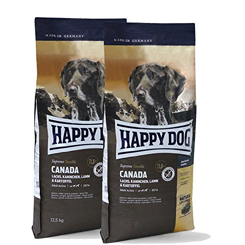 2 x 12,5 kg Happy Dog Supreme Sensible Canada getreidefreies Hundefutter