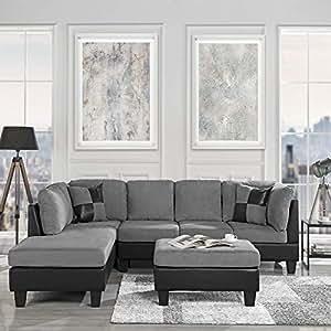 3-Piece Modern Reversible Microfiber / Faux Leather Sectional Sofa Set w/  Ottoman (Grey)