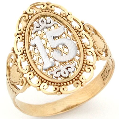 Jewelry Liquidation 10k Two Tone Gold 15 Anos Quinceanera Filigree Ring