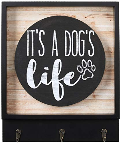 Boston Warehouse Wall Plaque with Hanging Hooks It's a Dog's Life