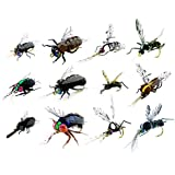 YAZHIDA Fly Fishing Kit – Pack 12/9/One/of Handmade Fly Fishing Lures Kit – 3D Laser Compound Eyes – Food-Grade Silicone Body Flies – Eco-Friendly Packaging – High Simulation Fishing Dry Flies