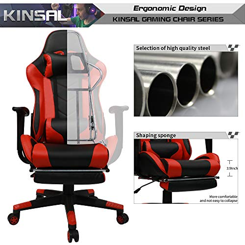 Kinsal Gaming Chair With Footrest Racing Style High Back