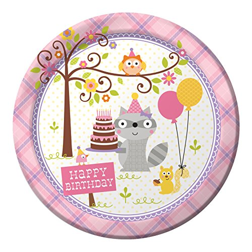 Creative Converting 8 Count Paper Dinner Plates, Happi Woodland Girl - 425671 -