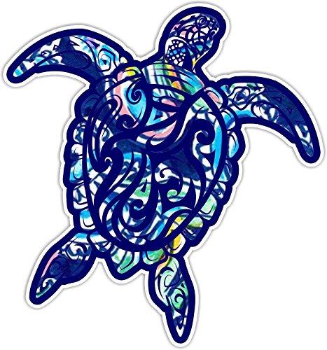 Sea Turtle V3 Car Truck Window Laptop Vinyl Decal Sticker (Blue Coconut) ()