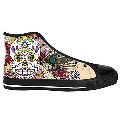 Dalliy Red Rose And Skull Mens Canvas shoes Schuhe Lace-up High-top Sneakers Segeltuchschuhe Leinwand-Schuh-Turnschuhe D