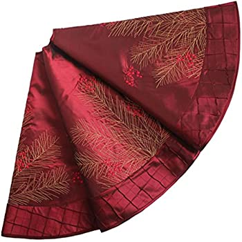 sorrento deluxe embroidered pine branches cherry with pintuck borderextra large christmas tree skirt - Large Christmas Tree Skirt