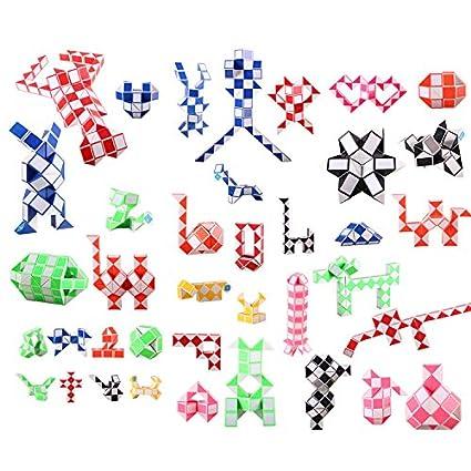 MZStech Serpiente M/ágica Twist Puzzle Colecci/ón Twisty Toy 108 Cu/ñas Regla M/ágica rojo