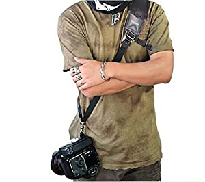 Nicama CS1 Rapid Action Camera Shoulder Neck Sling Strap with Quick Release Clip & Neoprene/Vintage Leather Shoulder Pad for Canon EOS Nikon Sony Olympus Pentax & Panasonic DSLR & Mirrorless Cameras