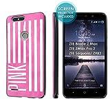 ZTE Blade Zmax Pro 2/ZTE Sequoia [SlickCandy] [Black] Slim Fit Gummy TPU Phone Case [Screen Protector] - [Pink US Flag]