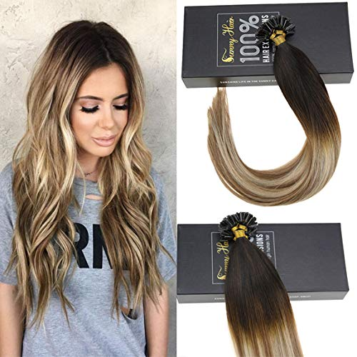 (Sunny 22inch Hair Extensions Keratin Bonding Glue Fusion Nail U Tips 100 Real Human Hair Extensions Darkest Brown Root to Medium Brown with Light Blonde Highlights Fusion Natural Hair 50g/set)