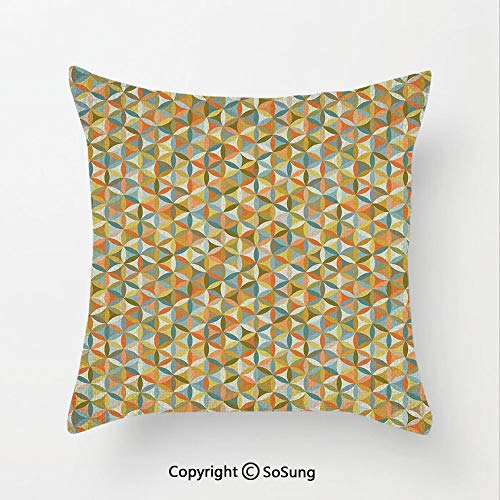 Abstract Linen Throw Pillow Cushion,Circular Interlace Inner Rounds Oval Shaped Overlapping Vintage Forms Artsy Design,15.7x15.7Inches,for Sofa Bedroom Car & Home Decorate Multicolor