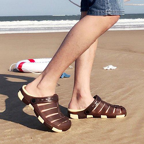 Verano 42 Cool Masculino de Baotou Macho Fondo fankou Zapatillas Marrón Playa Suaves Zapatillas una Antideslizante Corrientes de Pantuflas wq1UZt
