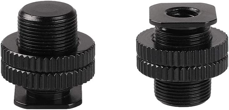 TEZONG 1//4-20 Tripod Screw to Camera Hot Shoe Mount Adapter Flash Shoe Mount for DSLR Camera Rig 2Pack