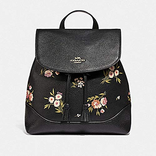- Coach Wome's Tossed Daisy Print Pebble Leather Elle Backpack in Black/Pink, Style F73054