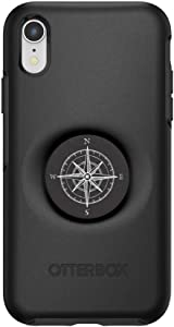 Otter + Pop for iPhone XR: OtterBox Symmetry Series Case with PopSockets Swappable PopTop - Black and Compass
