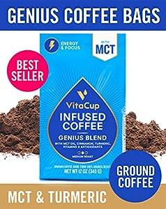VitaCup Genius Blend Ground Coffee Bags 12oz Energy & Focus   MCT, Turmeric & Cinnamon   Keto   Paleo   Whole 30   Vitamins B1, B5, B6, B9, B12, D3   for Drip Coffee Brewers & French Press from VitaCup