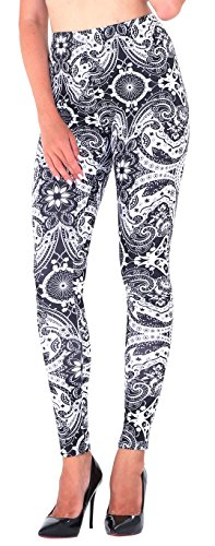Jescakoo Women's Retro Swirl Floral Printed Black White Leggings Themed Party Costume ()