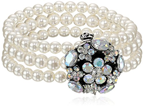 Simulated Cream Pearl Faceted Glass 3-Ro - 3 Row Stretch Pearl Bracelet Shopping Results