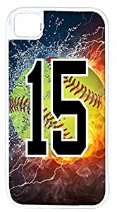 Flaming Softball Sports Fan Player Number 1 6 4.7 White Rubber Hybrid Tough Case Decorative iPhone 6 4.7 Case