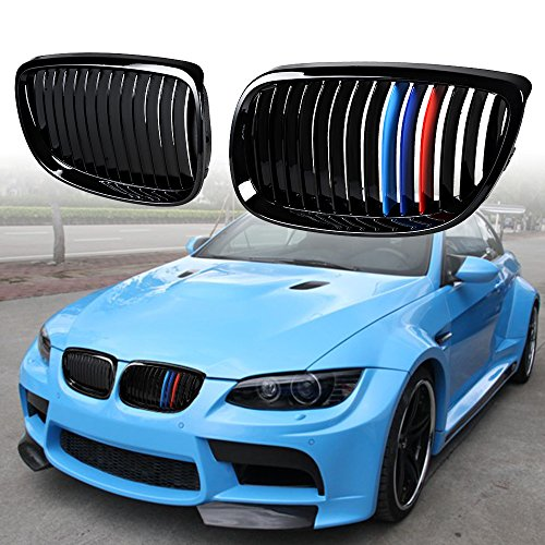 Astra Depot Kidney Grille Compatible for BMW 3-Series 07-10 E92 Coupe E93 Convertible 08-13 M3 2DR Single Line, Glossy Black M Color