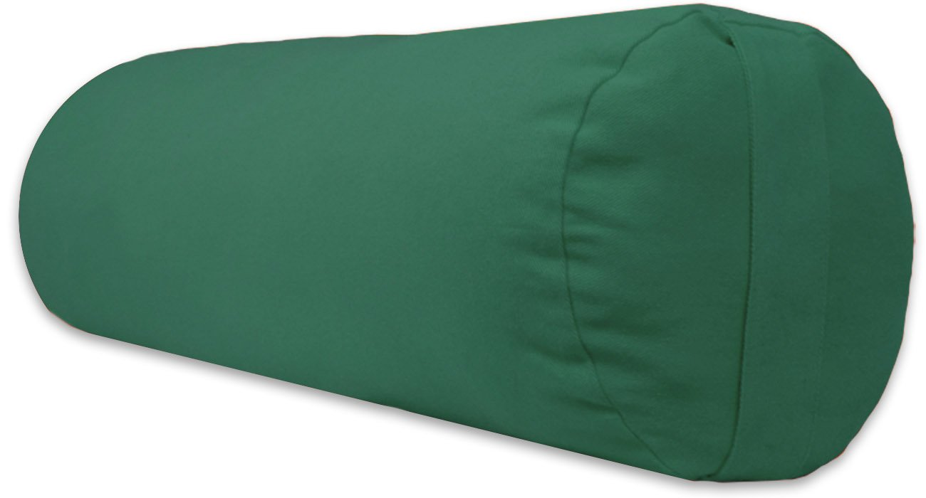 YogaAccessories Supportive Round Cotton Yoga Bolster - Green