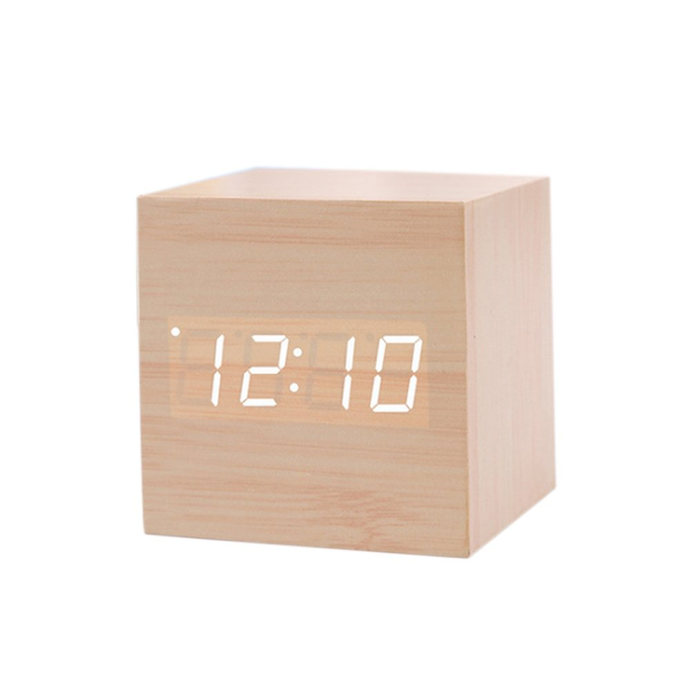 Rokoo Cubo LED Alarma de madera Reloj Control de sonido Cuadrado Mesa de escritorio Termómetro digital Reloj: Amazon.es: Hogar