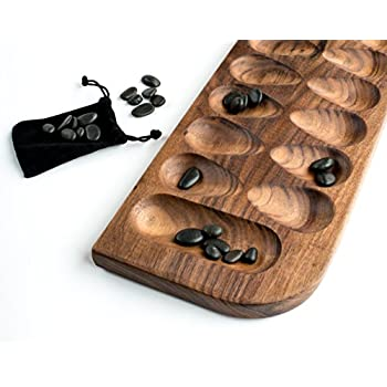 Mancala - Walnut with Black River Stones by Purple Squirrel Games
