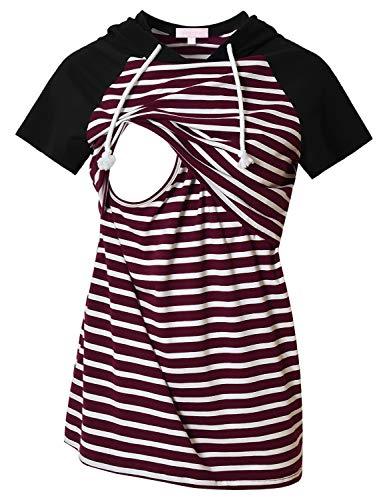 Bhome Nursing Shirt Short Sleeve Casual Raglan Maternity Hoodie Breastfeeding Top Burgundy White Striped M