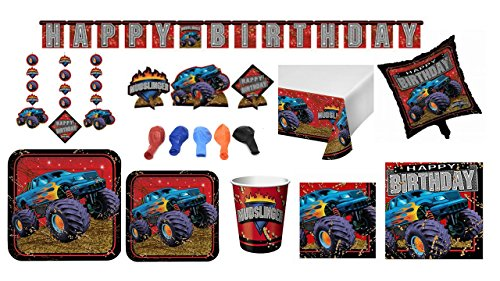 Kids Birthday Mudslinger Monster Truck Themed Dinnerware/Decorations Combo Pack 10-Piece Bundle, Serves 8 (Plates/Napkins/Cups/Tablecloth/Decorations)