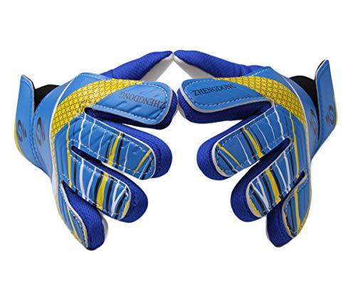 Goalkeeper Goalie Gloves - Kids & Adults Football Goal Keeper Gloves with Embossed Anti-Slip Latex Palm and Soft PU Hand Back (Blue, 6)