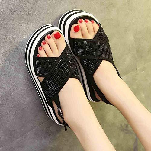 Plataformas Fondo Grueso Suela Zapatos 2019 Verano Logobeing De Sandalias Mujer Negro Suave qwRZTzI