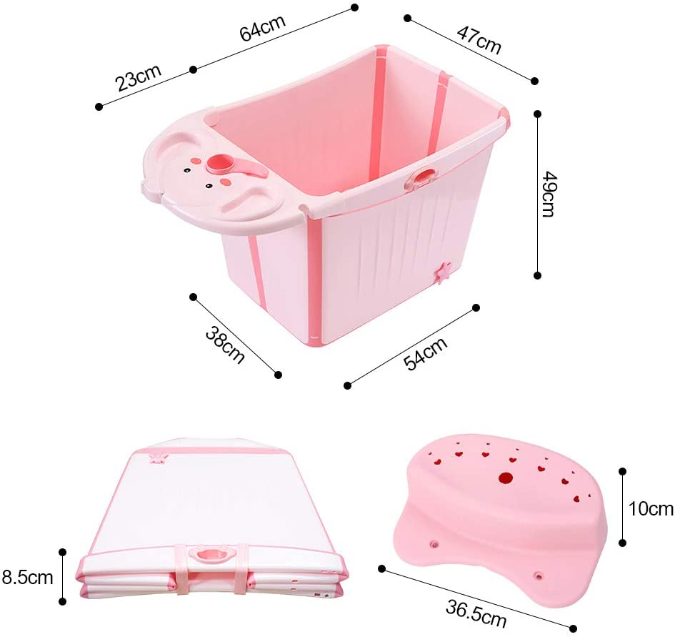 FOME Vertical Large Space Folding Baby Bath Tub Foldable Shower Basin Collapsible Baby Bathtub Baby Shower Basin with Detachable Bath Stool For Infants Kids Aged 0-6 Years Old Collapsible Bathing Tub