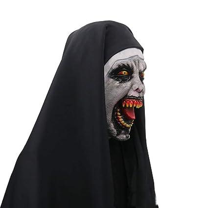 Novedad De Látex De Goma Espeluznante Espeluznante Máscara De La Monja De Halloween Horror Miedo Mujer Fantasma Cara Ordenada Fiesta Suministros: Amazon.es: ...