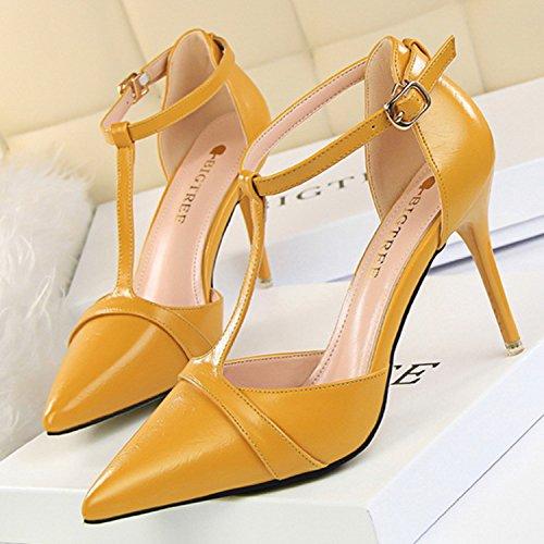 Azbro Mujer Zapatos de Estilete Bomba de Tacón Alto T-correa Puntera Punta Amarillo