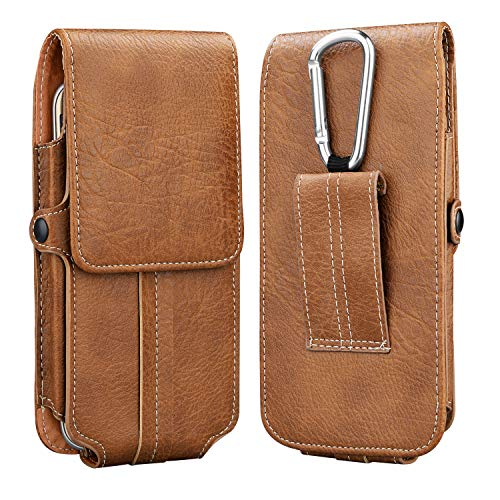 (Takfox Phone Holster,Universal PU Leather Belt Clip Belt Loop Case for iPhone Xs Max XR XS X 8 Plus 7 Plus 6 6s Plus, Samsung Galaxy S10 Plus S10 S9 S8 S7 J7, LG G8, Moto Z3 Play up to 6.5