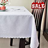 Stain Resistant Turkish White Dining Tablecloth Polyester Table Cover - Rectangle Square Round Washable Non Iron - Thanksgiving Christmas Dinner Wedding New Year Eve Gift (WHITE, Rectangle 60''x120'')