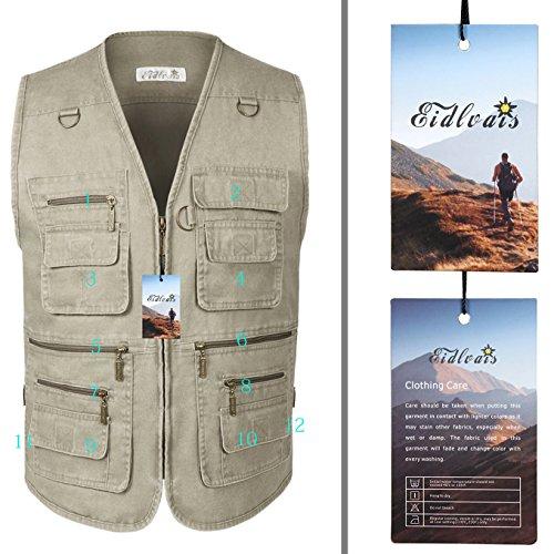 Eidlvais Men's Multi-Pockets Vest For Outdoors Travels Sports Khaki Size XL by Eidlvais (Image #4)