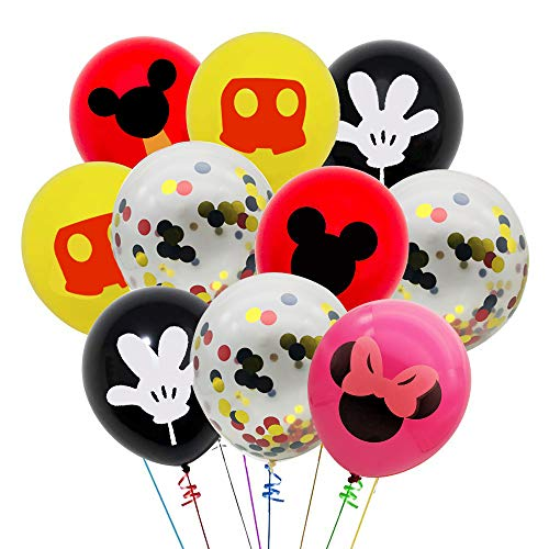 - 40 Pack Mickey Mouse Balloons, 12 Inch Red Black Yellow Latex Balloons with Confetti Balloon for Baby Shower Birthday Party Decorations Supplies with Ribbon