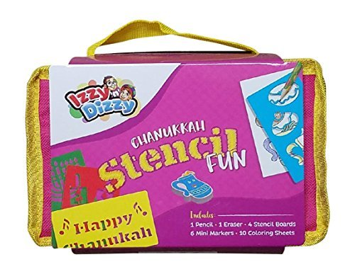 Chanukah Stencil Fun Kit - Includes 1 Pencil, 1 Eraser, 4 Stencil Boards, 6 Mini Markers, 10 Coloring Sheets in Pencil Case - Hanukah Arts and Crafts and Games by Izzy 'n' Dizzy